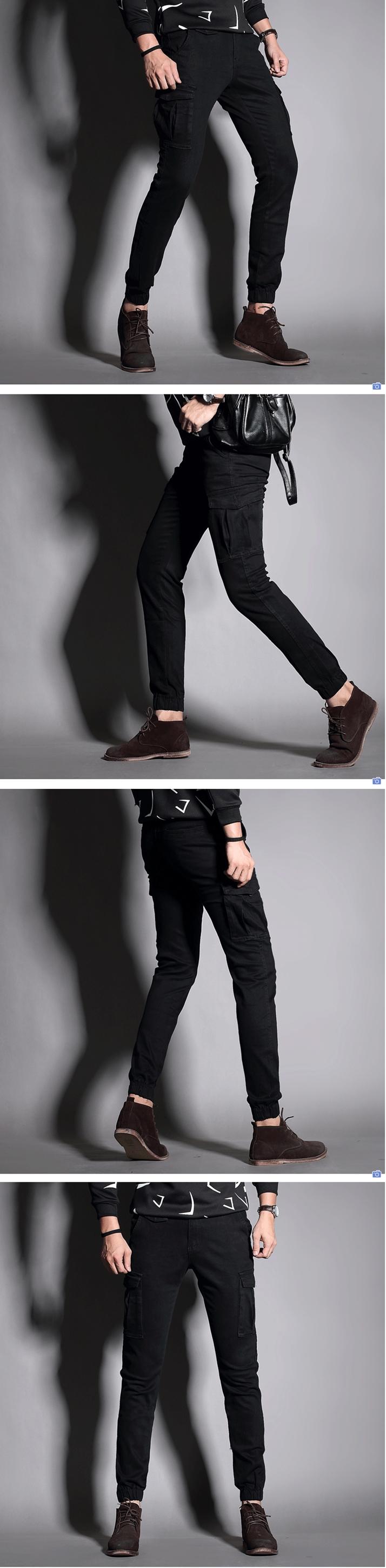 รองเท้าชาย กางเกงแฟชั่นกระเป๋าข้างขาจั๊ม สไตล์ overalls