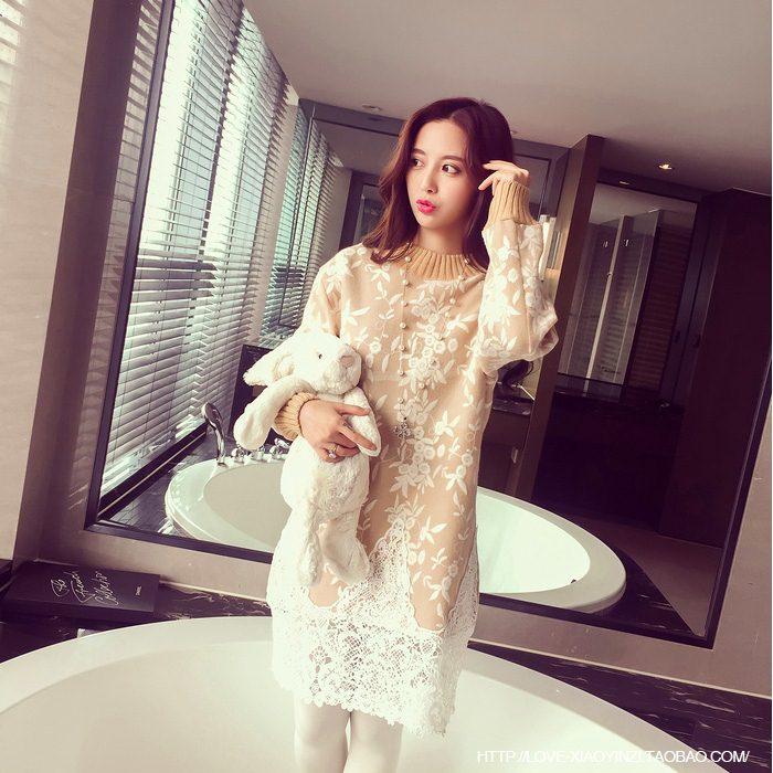 **สินค้าหมด Dress3753 Sweater Dress ชุดเดรสแขนยาวผ้าไหมพรมถักนิดติ้งชายลูกไม้ สีครีม
