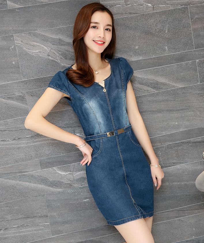 ชุดเดรสสั้น ผ้ายีนส์ แฟชั่นเกาหลี