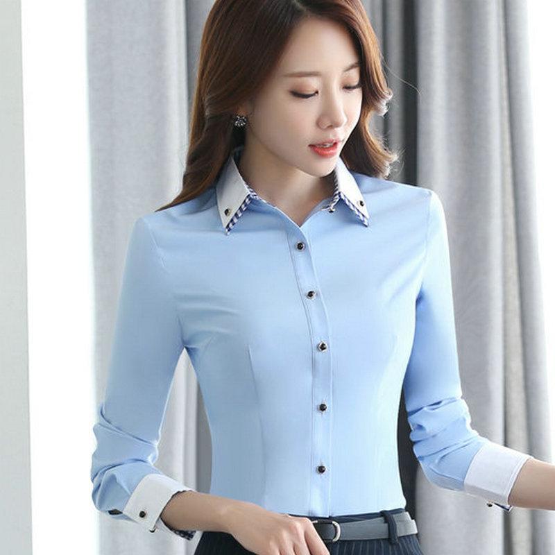 เสื้อเชิ้ตผู้หญิงแขนยาว สีฟ้า ปกสีขาวคลิปสก๊อต เป็นชุดทำงานชุดยูนิฟอร์มเรียบๆ