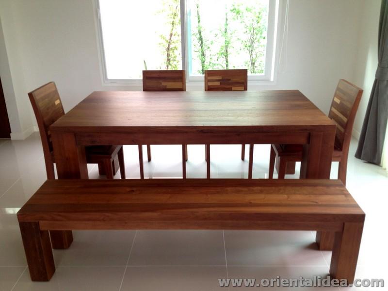 โต๊ะและม้านั่งไม้สัก