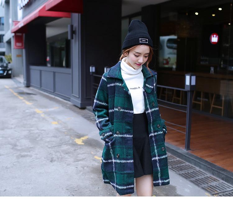 """size M""""พร้อมส่ง""""เสื้อผ้าแฟชั่นสไตล์เกาหลี ราคาถูก เสื้อโค้ทลายสก๊อตสีเขียว กระดุม8เม็ด กระเป๋าหน้า2ข้าง มีซับใน -size M"""