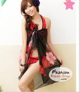 ผ้าคลุมชายหาดลายดอกไม้ Blossom : สีแดงชมพูพื้นดำ AB0007