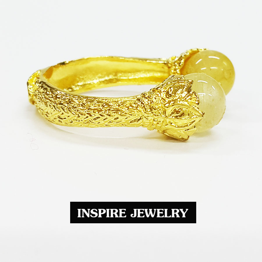 Inspire Jewelry ,แหวนหินไหมทอง มีให้เลือก ตัวเรือนหุ้มทองแท้ 100% 24K ฟรีไซด์ นำโชค เสริมดวง โชคลาภ พร้อมถุงกำมะหยี่