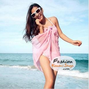 ผ้าคลุมชายหาด Hot Basic : สีชมพู AB0003