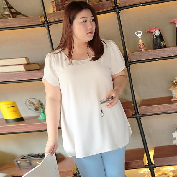 เสื้อชีฟองไซส์ใหญ่แขนสั้นกลีบบัว สีขาว (6XL,7XL,8XL) MX30403