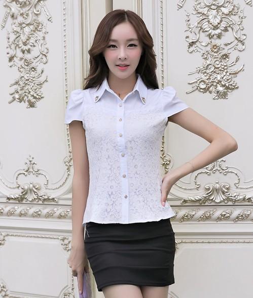 เสื้อทำงานผ้าลูกไม้แขนสั้นแฟชั่นน่ารักๆสีขาว