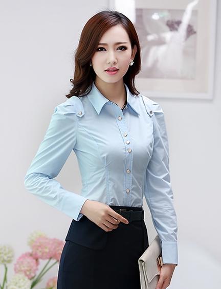 เสื้อเชิ้ตผู้หญิงแขนยาว สีฟ้า ขอบดำ