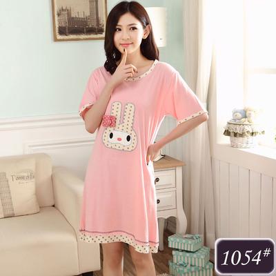 ชุดนอนกระโปรงผ้าฝ้ายสีชมพูลายน้องกระต่ายสุดน่ารัก (M,L,XL,2XL,3XL,4XL) #1054