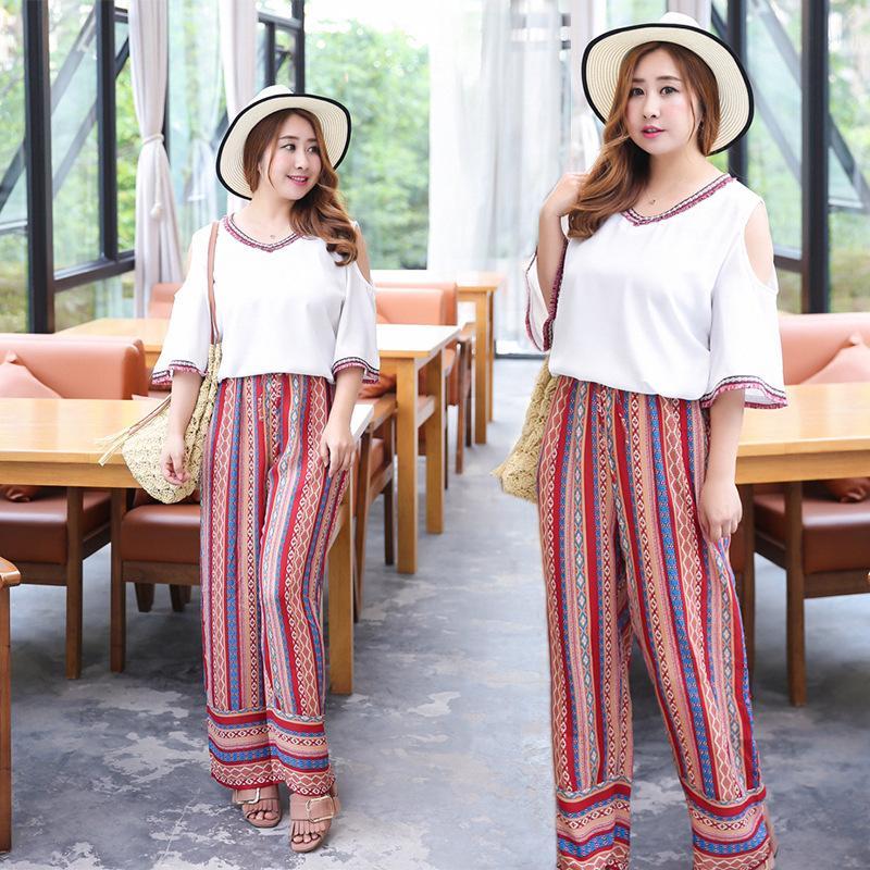++พร้อมส่ง++ ชุดเซ็ทไซส์ใหญ่ เสื้อชีฟองสีขาว คอวี + กางเกงขากว้างตัวยาว เอวยางยืดรูดผูกได้ (XL) TZ1060