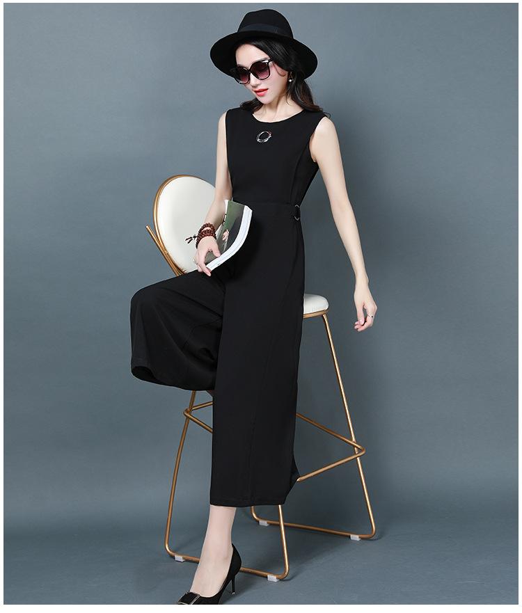 ชุดจั๊มสูทกางเกงขายาวทำงานผู้หญิงแฟชั่นเรียบหรู สีดำ ใส่สบายๆคล่องตัวไม่ร้อน