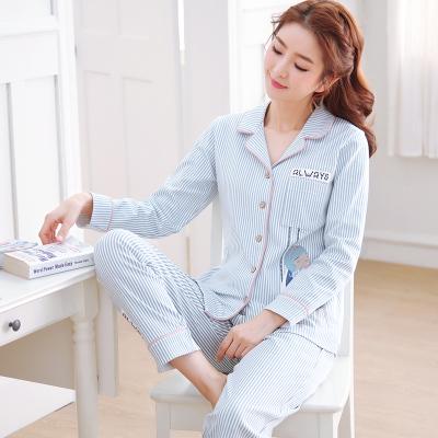 ชุดนอนผ้าฝ้ายลายทางสไตล์เรียบง่าย เสื้อเชิ้ตติดกระดุมแขนยาว+กางเกงขายาว เอวยืด (M,L,XL,2XL,3XL) ON-6984