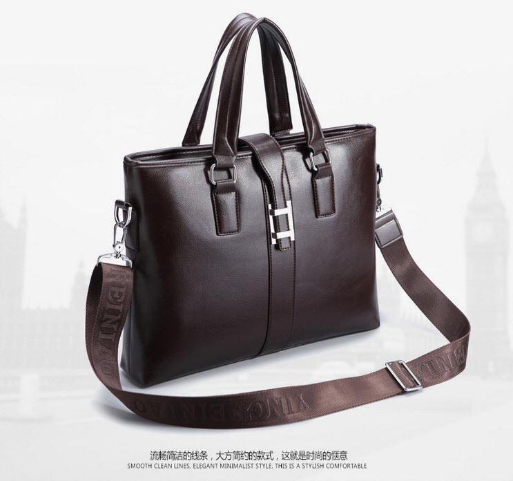 พร้อมส่ง กระเป๋าถือ กระเป๋าหนัง PU สีน้ำตาล สะพายไหล่ได้ ถอดสายเป็นกระเป๋าถือได้ ใส่เอกสาร ใส่ของได้เยอะ