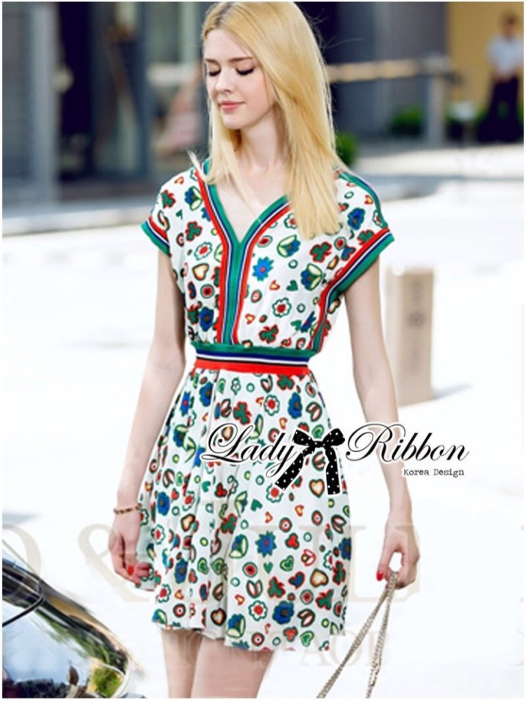 Lady Ribbon's Made Lady Jenny Super Chic Colorful Flower Printed Viscose Dress