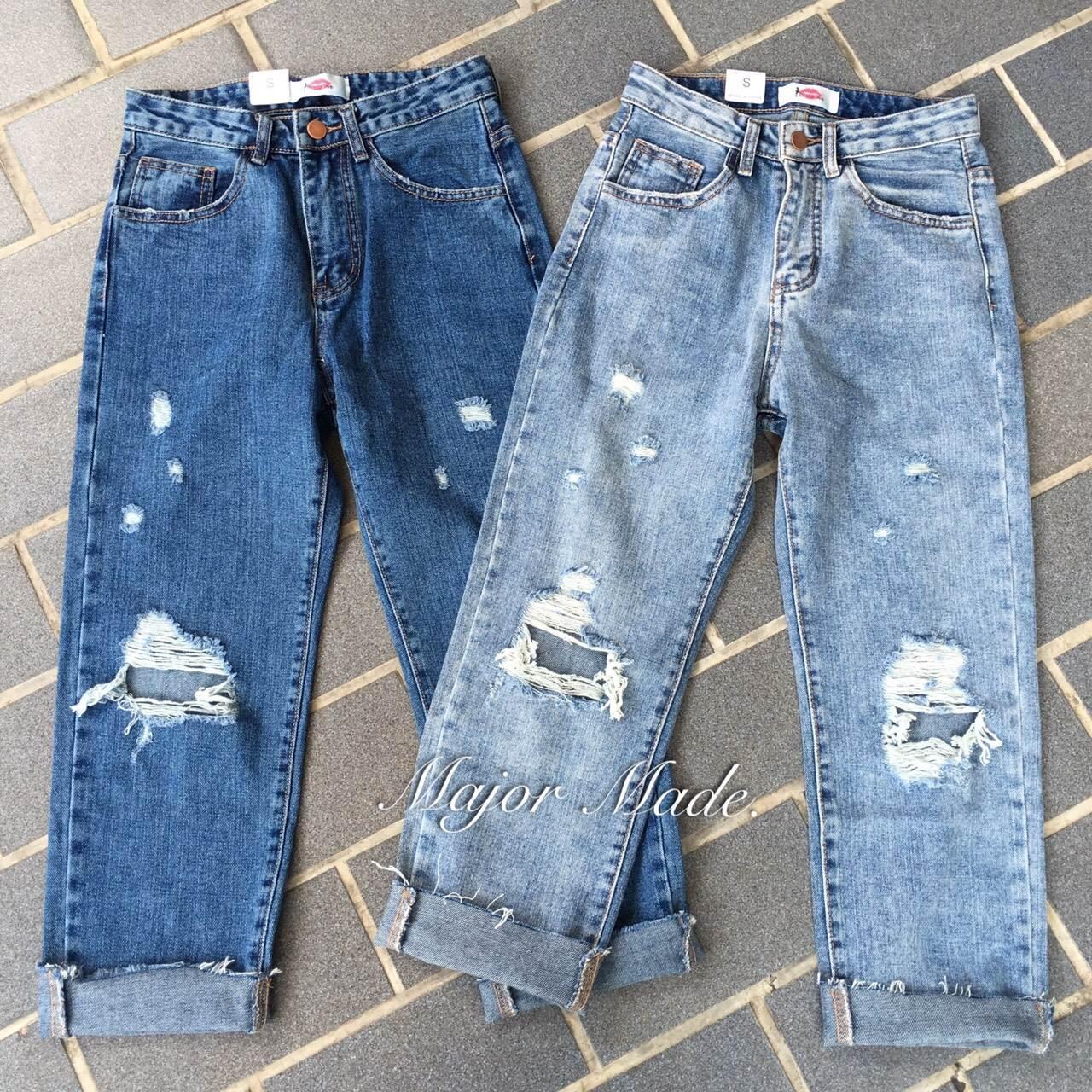 เสื้อผ้าแฟชั่นเกาหลีพร้อมส่ง กางเกงยีนส์ทรงบอยขา 8 ส่วน