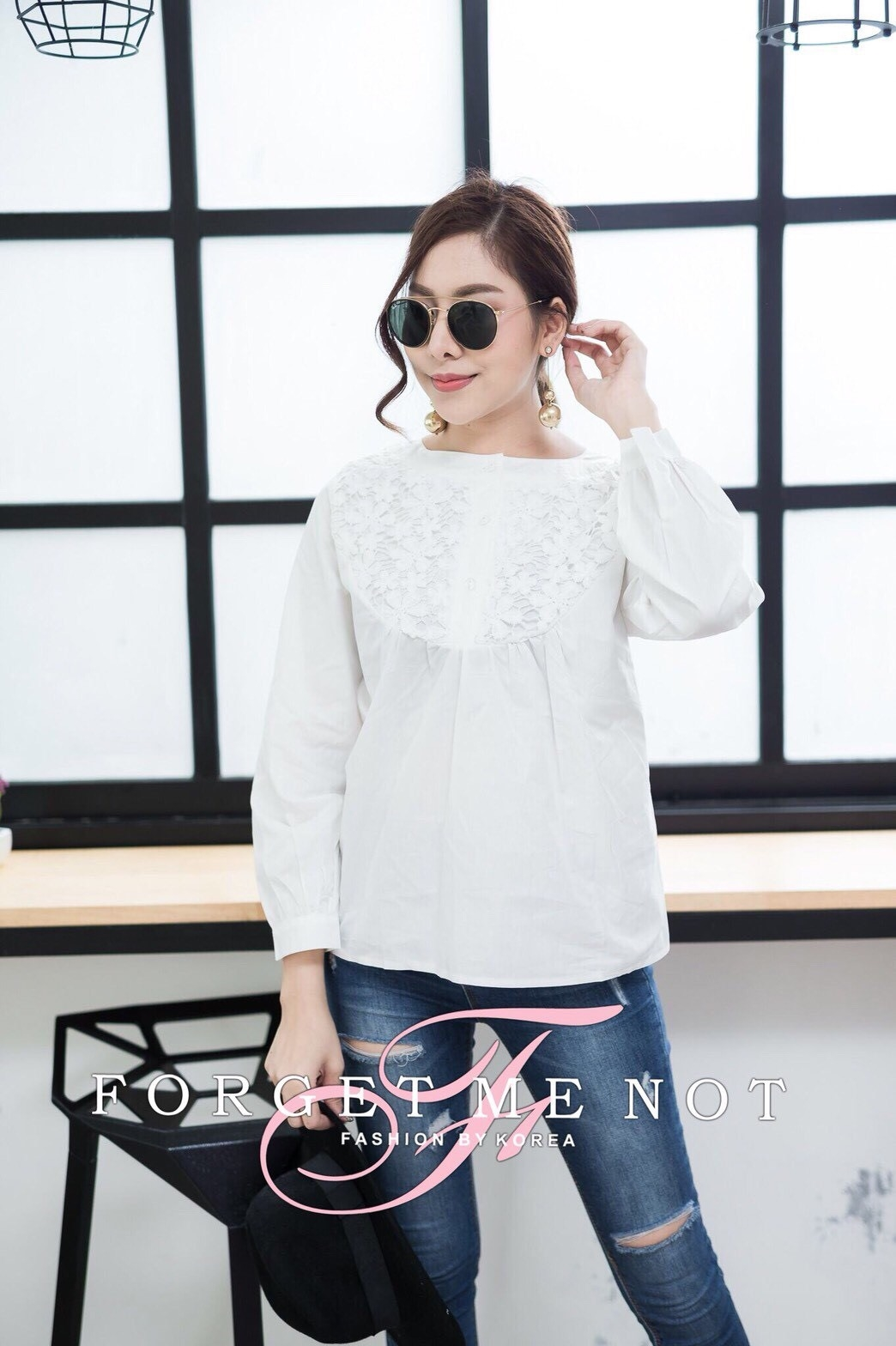เสื้อผ้าเกาหลีพร้อมส่ง เสื้อคอกลม แขนตุ๊กตา เนื้อผ้า cotton 100%