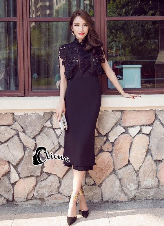 ชุดเดรสเกาหลี พร้อมส่งlong dressสีดำงานลูกไม้สีดำช่วงบน