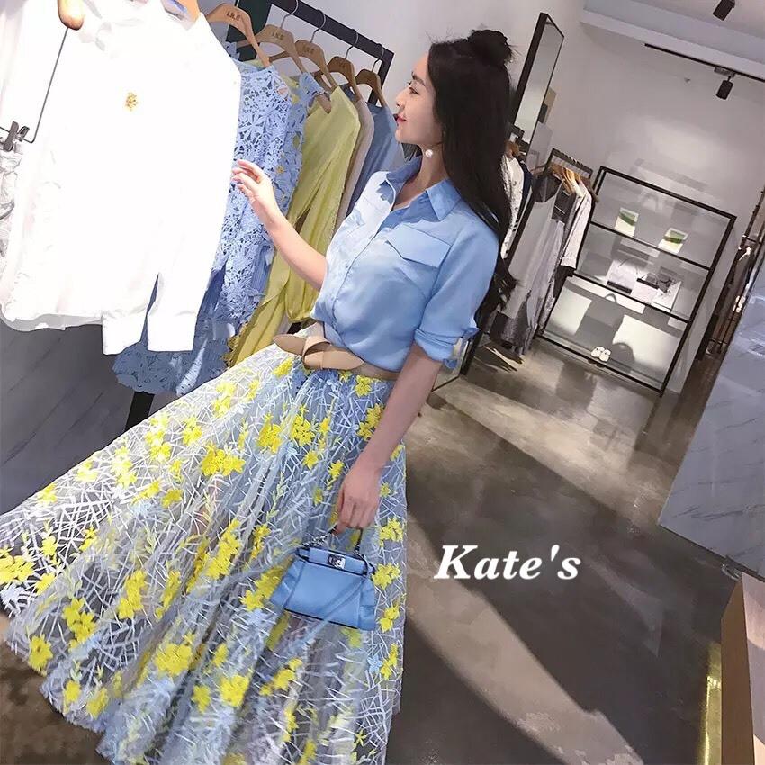 เสื้อผ้าเกาหลี พร้อมส่งกรี๊ดหนักมาก กับชุด Set เสื้อเชิ๊ตคอปกทรงยาวสีฟ้าสดใส