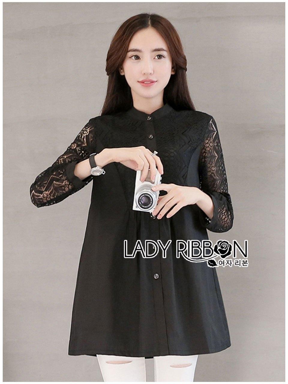 เสื้อผ้าเกาหลี พร้อมส่งเชิ้ตยาวผ้าคอตตอนและลูกไม้สีดำ