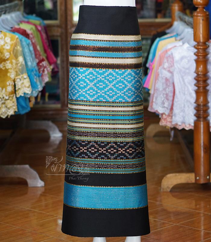 ผ้าซิ่นทอลายจก 1 สีฟ้า
