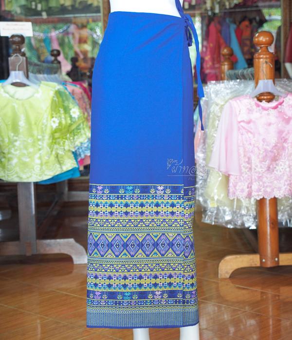 ผ้าถุงผ้าฝ้ายพิมพ์ลาย มีเชือกผูกเอว ฟรีไซส์