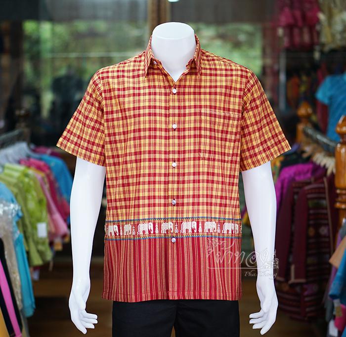 เสื้อเชิ้ตผ้าฝ้ายทอลายช้าง ไม่อัดผ้ากาว สีแดง-เหลือง ไซส์ L