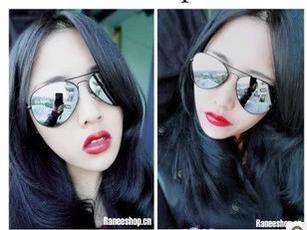 แว่นตากันแดดแฟชั่นเกาหลี กรอบสีเงิน เลนส์ปรอทกระจก