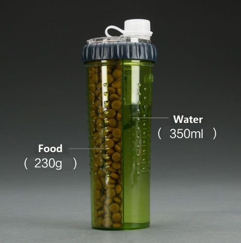 กระบอกใส่อาหารใส่น้ำสัตว์เลี้ยงแบบพกพาพร้อมภาชนะ