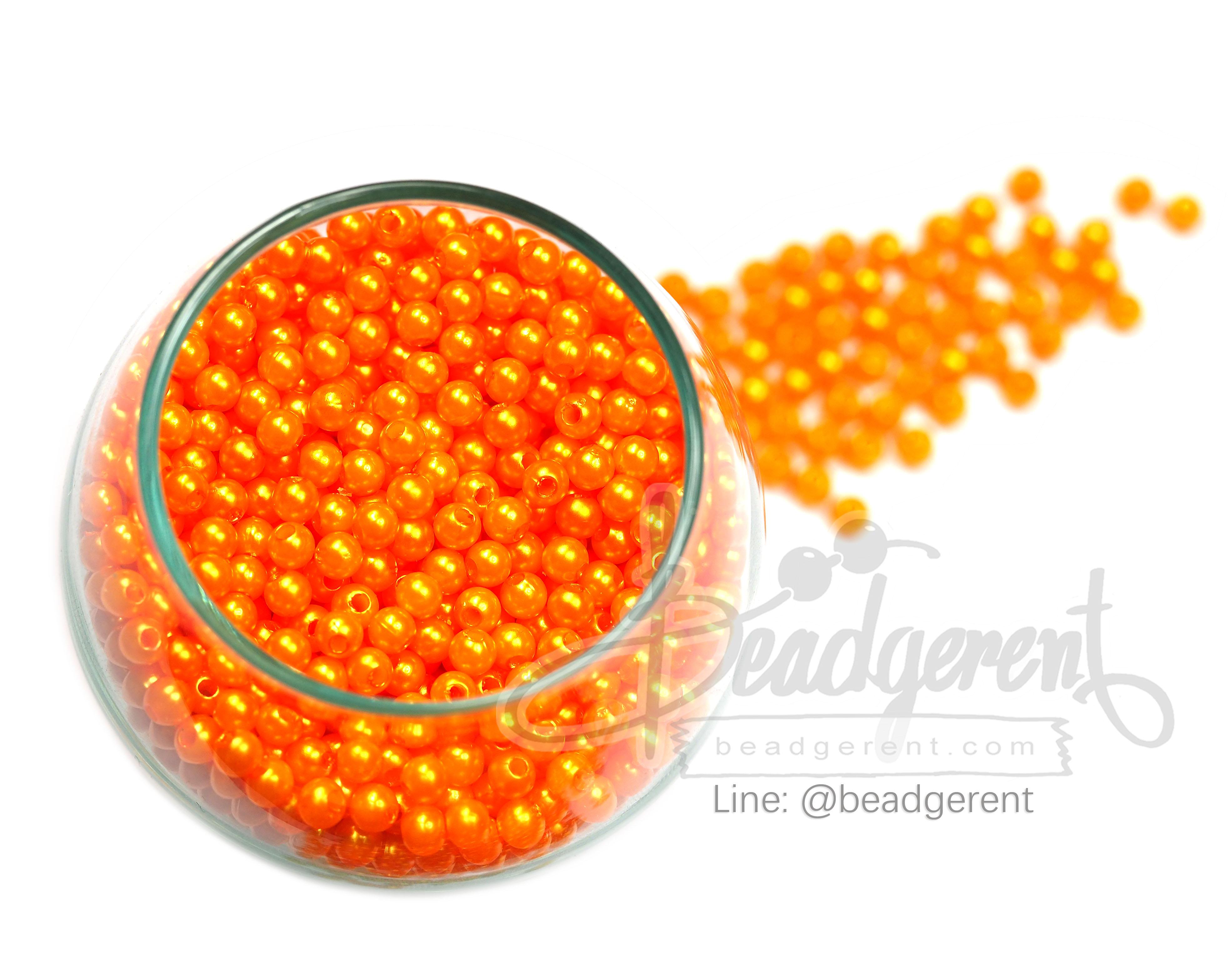 ลูกปัดมุกพลาสติก 4มิล สีส้ม (15 กรัม)