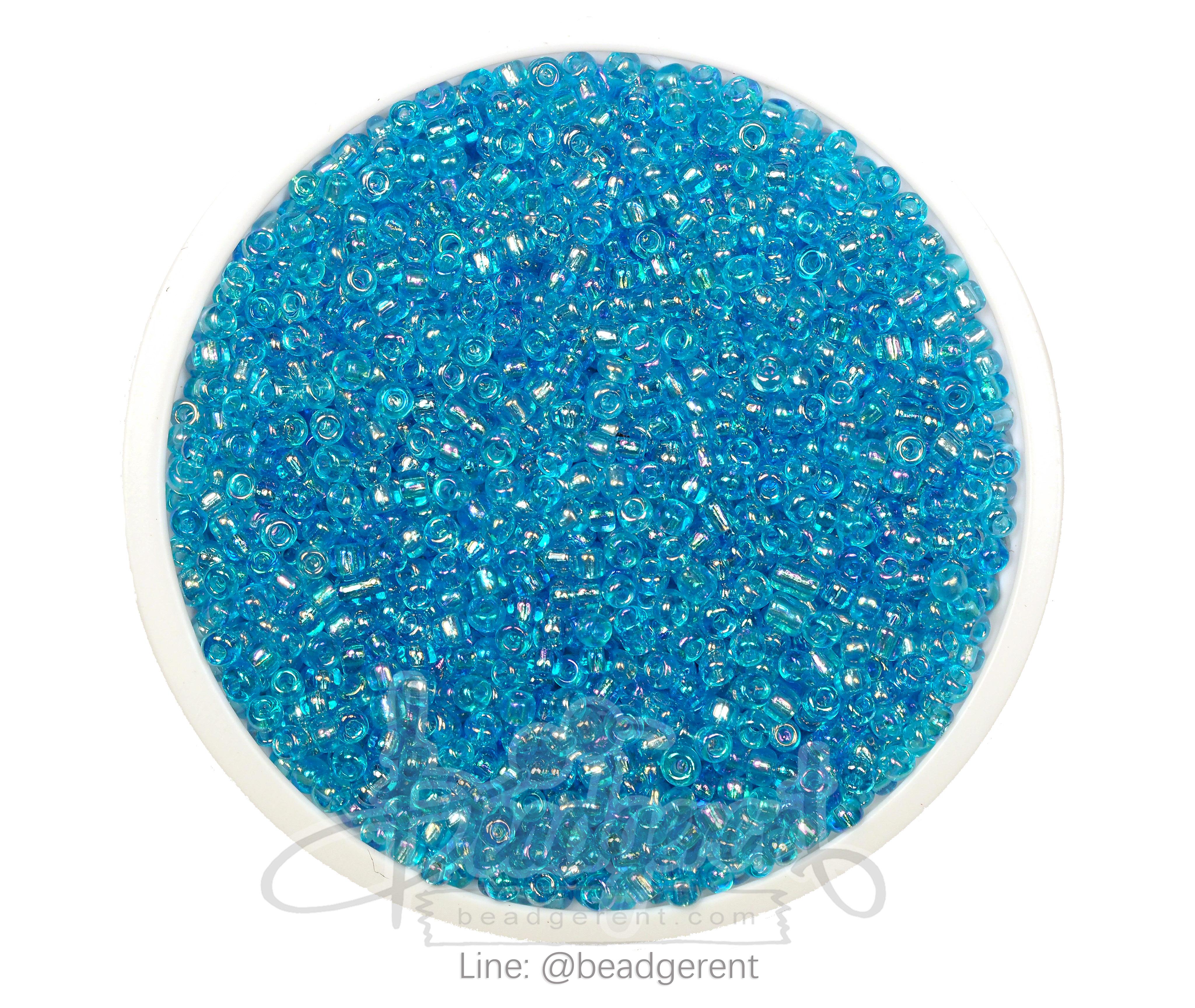 ลูกปัดเม็ดทราย 12/0 โทนรุ้ง สีฟ้า (100 กรัม)
