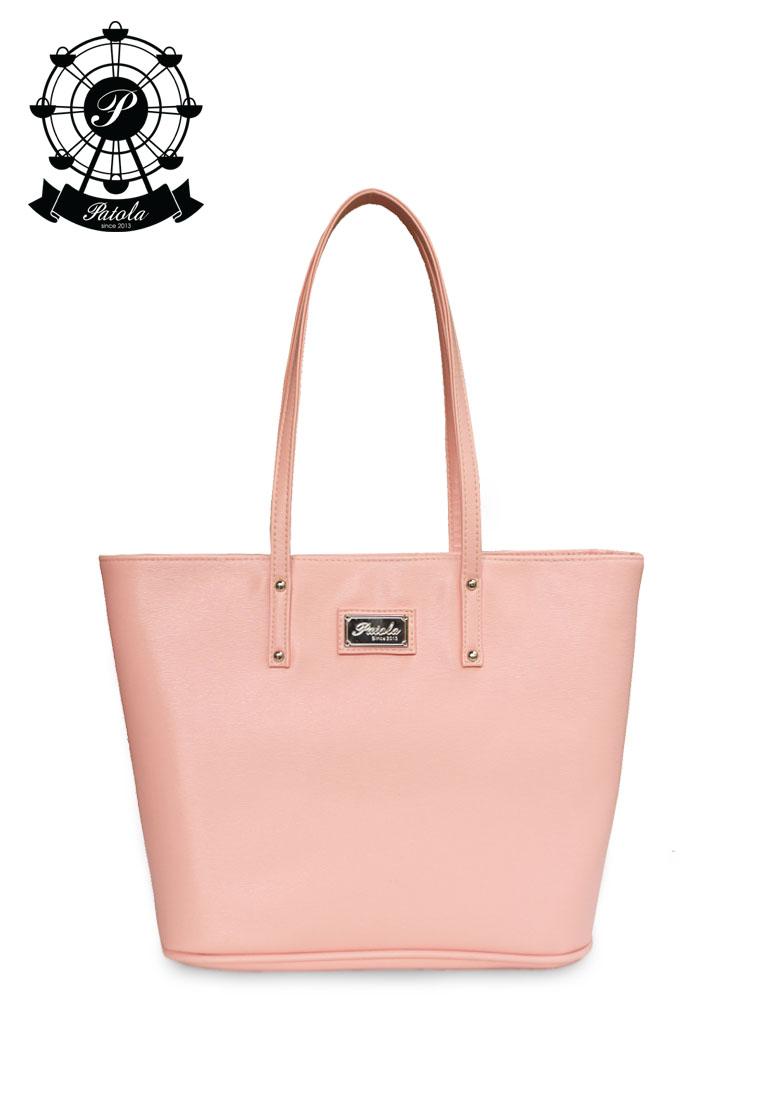 กระเป๋า Patola รุ่น M totebag หนังpu ลายเปลือกไม้ สีชมพู