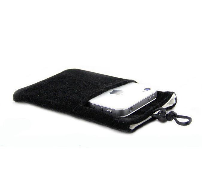ถุงผ้ากำมะหยี่ 2 ช่อง ใส่มือถือหรือแบตสำรอง ขนาด 5.0 นิ้ว 10*16 ซม. (สีดำ)