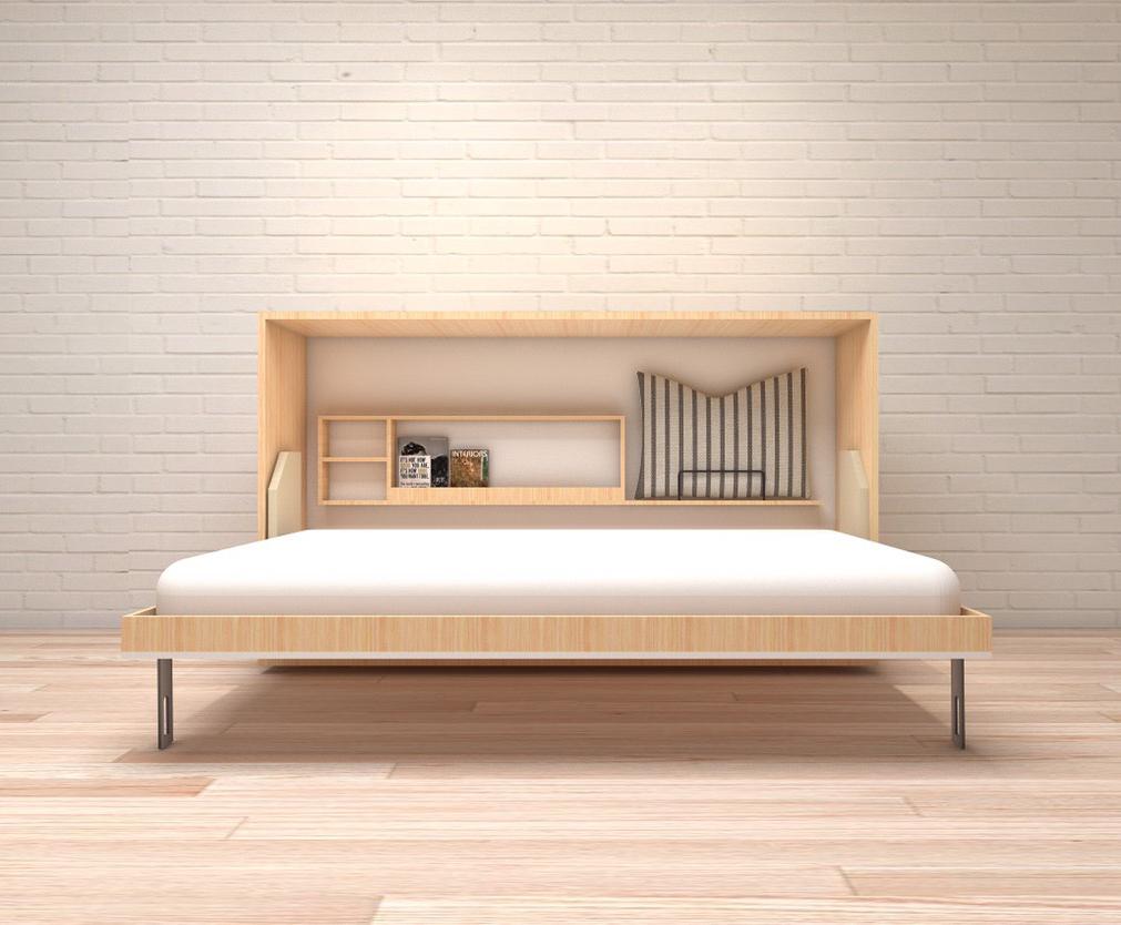 เตียงพับ รุ่น spazio แนวนอน ขนาด 3.5 ฟุต (พร้อมที่นอน แบรนด์ Hermes หนา 7นิ้ว)