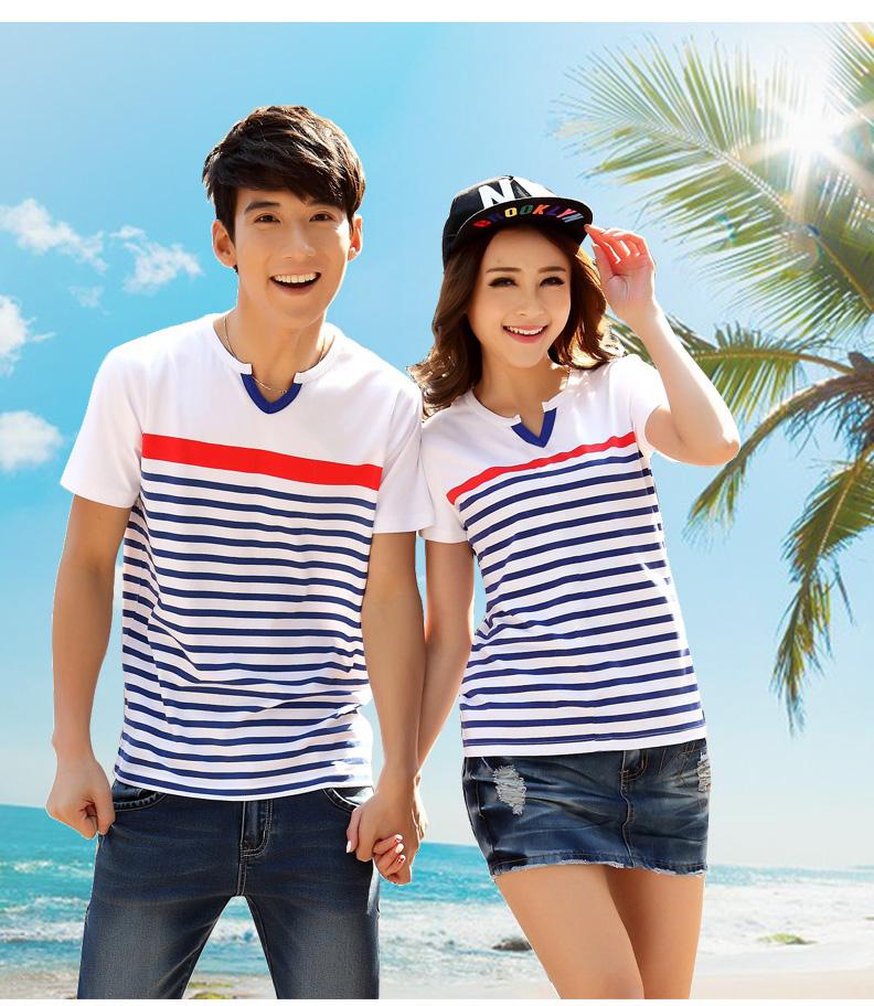 เสื้อยืดสีขาว ลายขวางสีฟ้า แต่งคอวีสุดเก๋