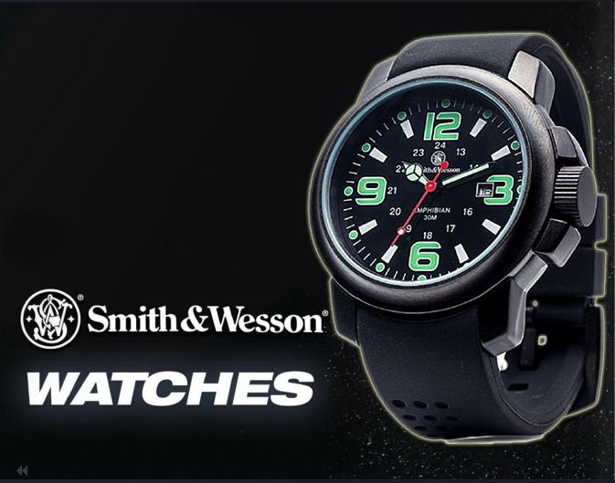 นาฬิกาทหาร Smith-Wesson Watch Amphibian Quartz Analog ตัวเรือนไททาเนียม! แสดงเวลา-วันที่ สายข้อมือยางคุณภาพดี