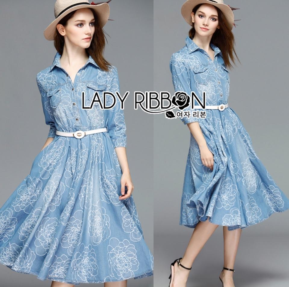 Grace Floral Embroidered Denim Shirt Dress with Belt L219-95C06