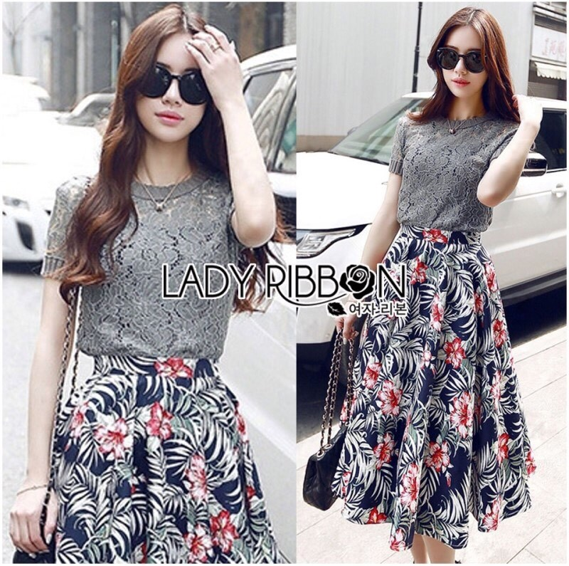 Lady Liz Lace Jumper and Floral Printed Midi Skirt Set L200-89C11