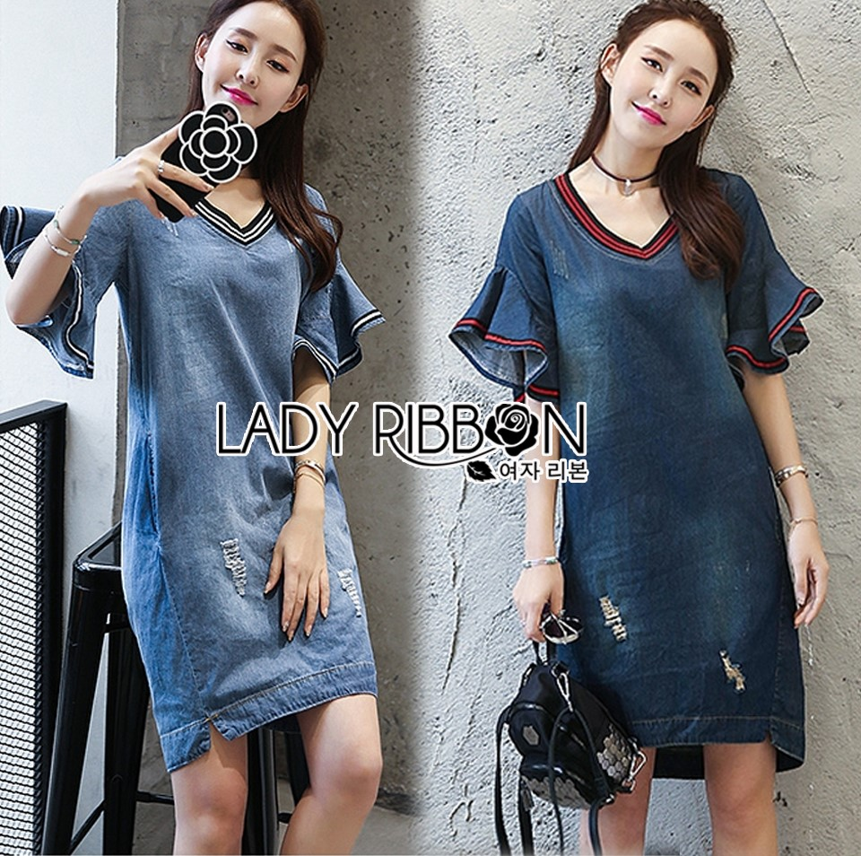 Lady Ashley Smart Casual Ruffle-Sleeve Denim Dress L267-7519