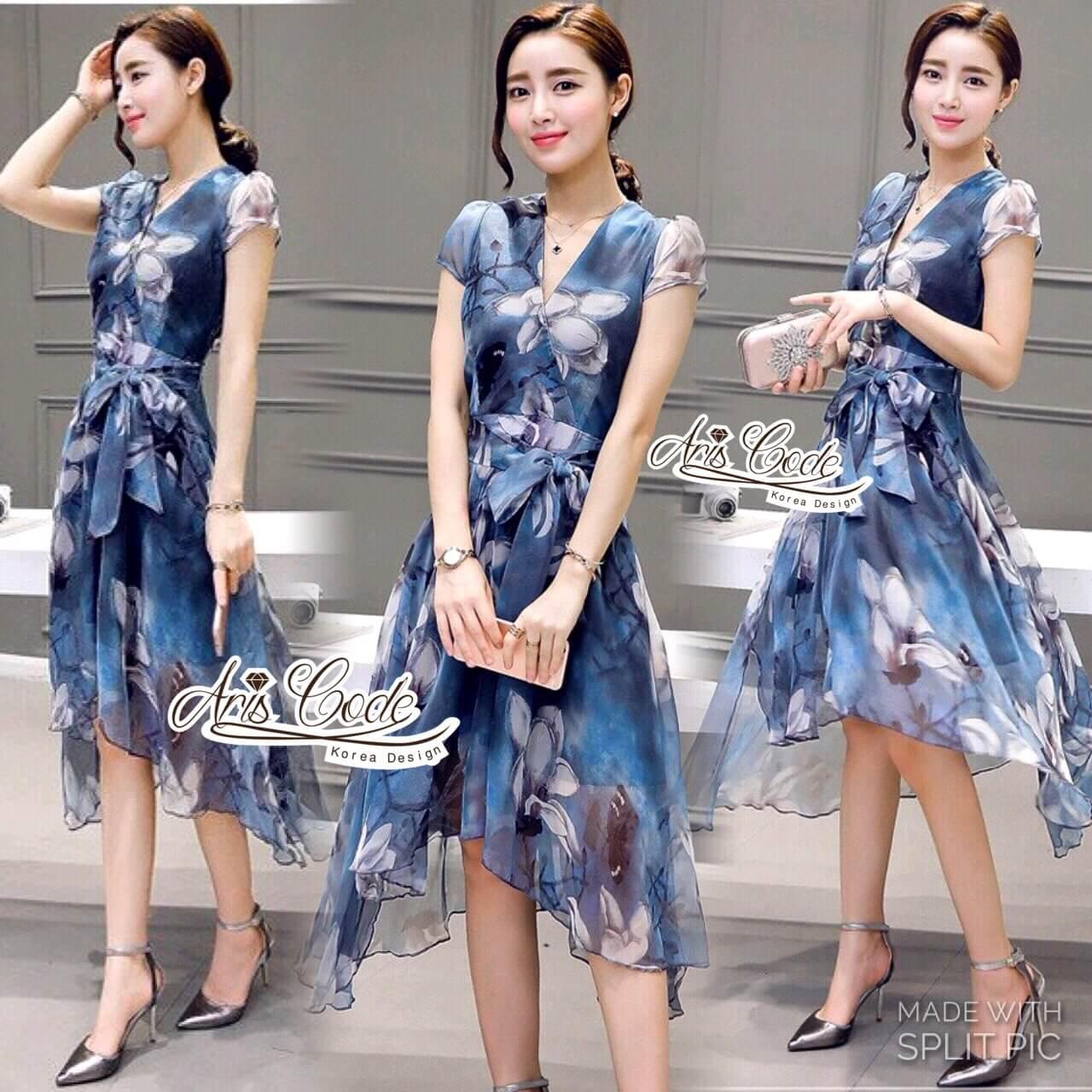 Korea Cocktail Dresses blue floral print by Aris Code