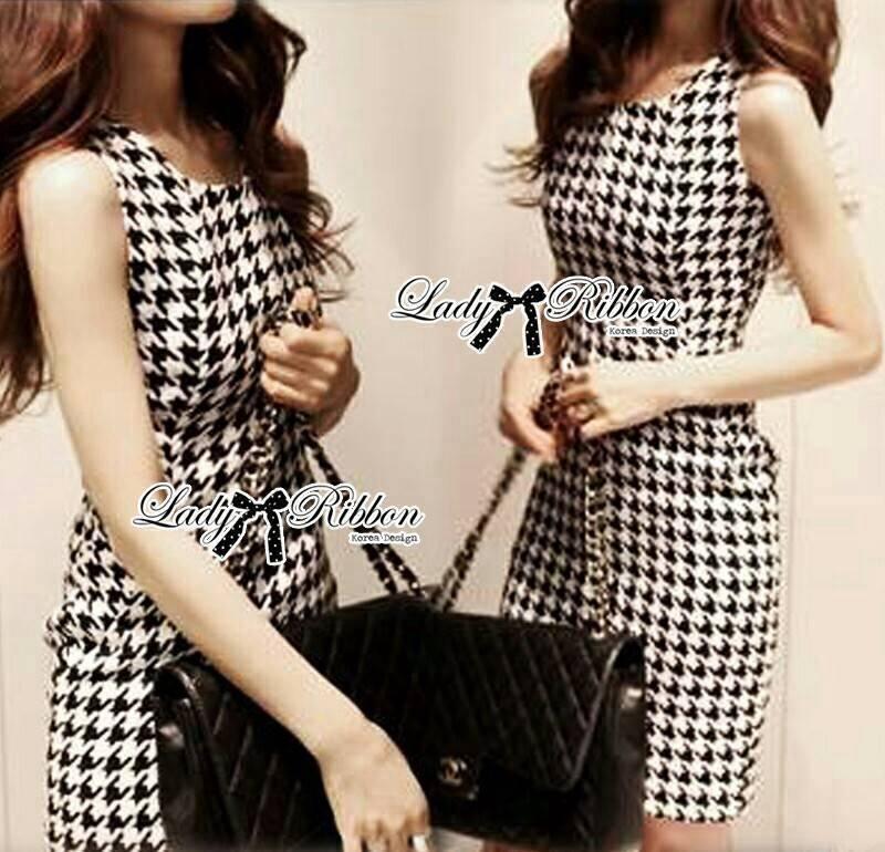 Lady Lesslie Sweet Houdstooth Tweed Dress L134-69C06
