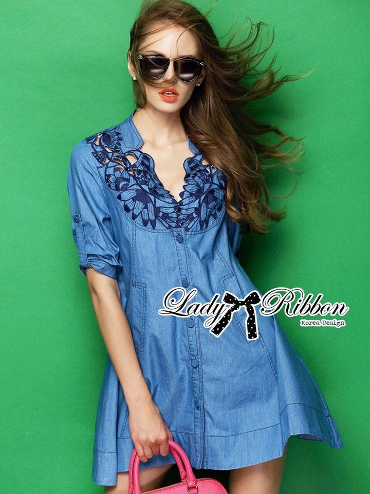 DR-LR-158 Lady Rosalie Smart Chic Embroidered Denim Shirt Dress