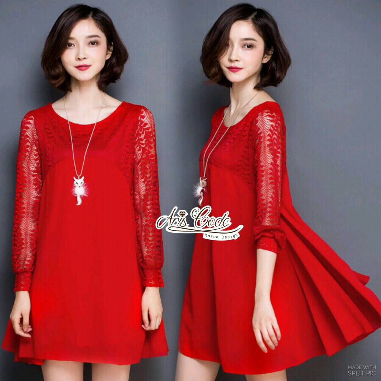 Dress shirt chiffon lace long sleeve bright red by Aris Code A249-69C03