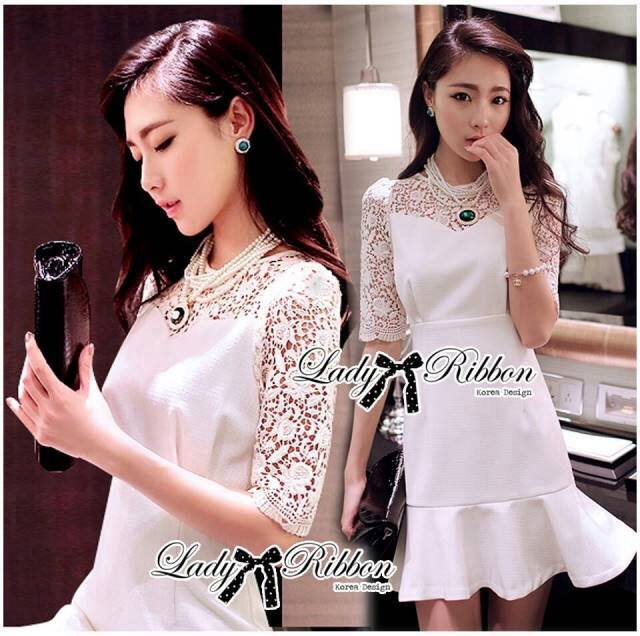 Lady Hana Classic Glam Insert Lace Ruffle Dress in White