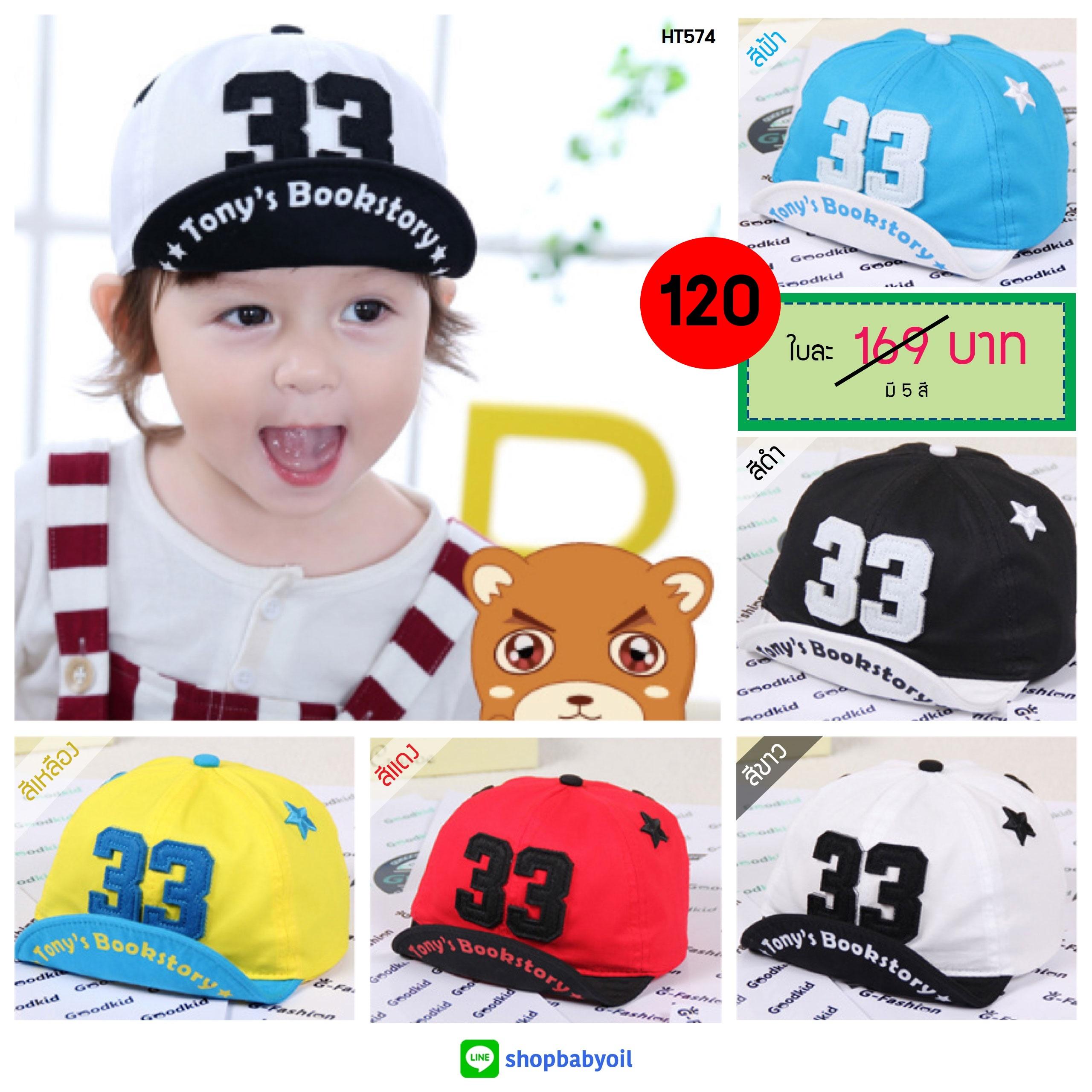 หมวกแก๊ป หมวกเด็กแบบมีปีกด้านหน้า ลาย 33 (มี 5 สี)