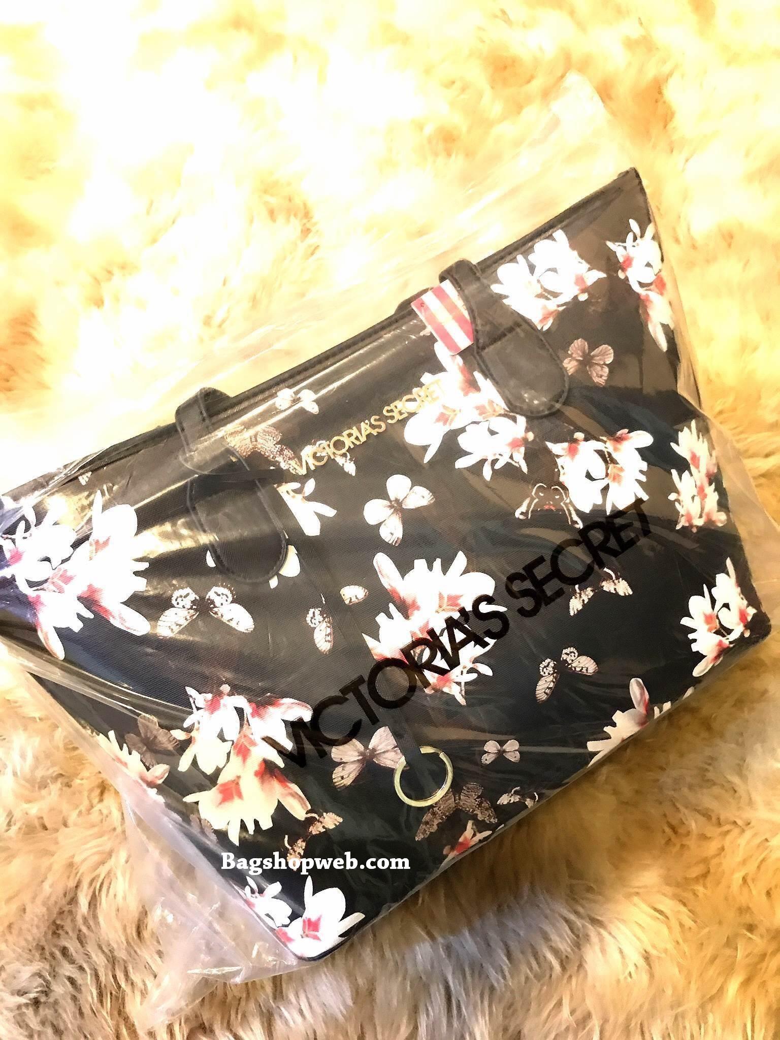 Victoria's Secret Flower Print Shoulder Tote Bag