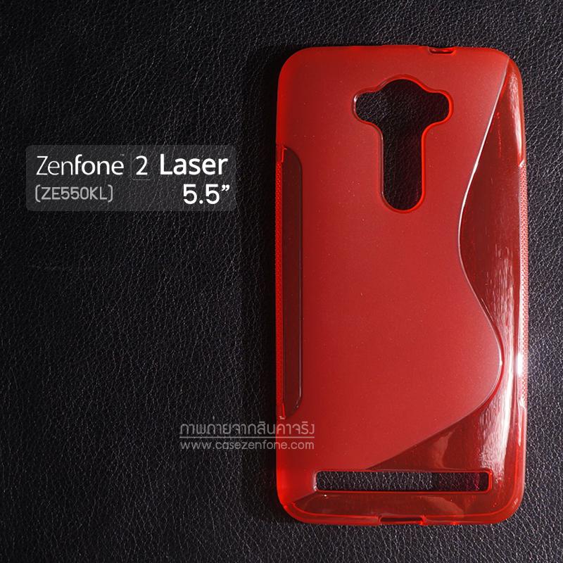"""เคส Zenfone 2 Laser 5.5"""" นิ้ว (ZE550KL) เคสนิ่ม TPU แบบทูโทน สีแดงใส"""