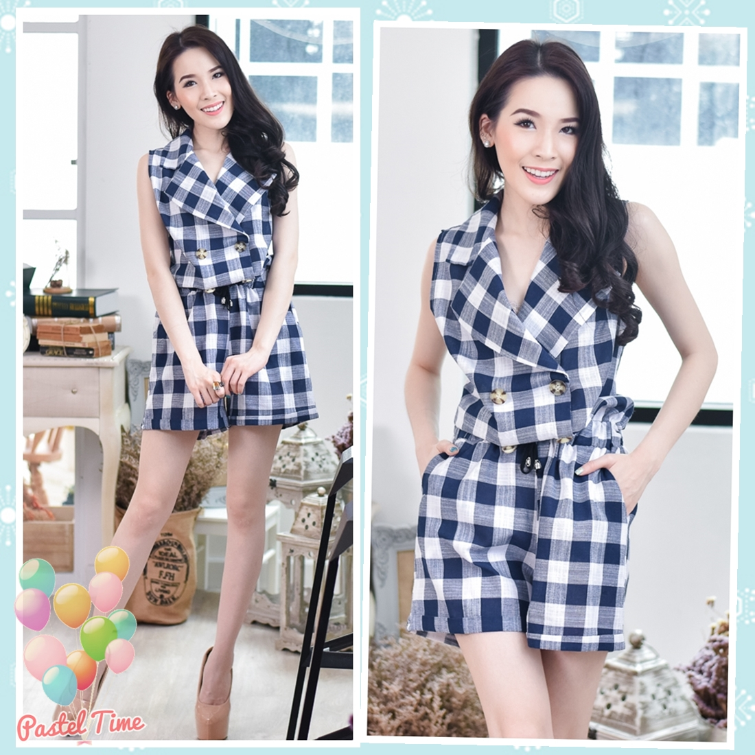 Navy Checked Jumpsuit