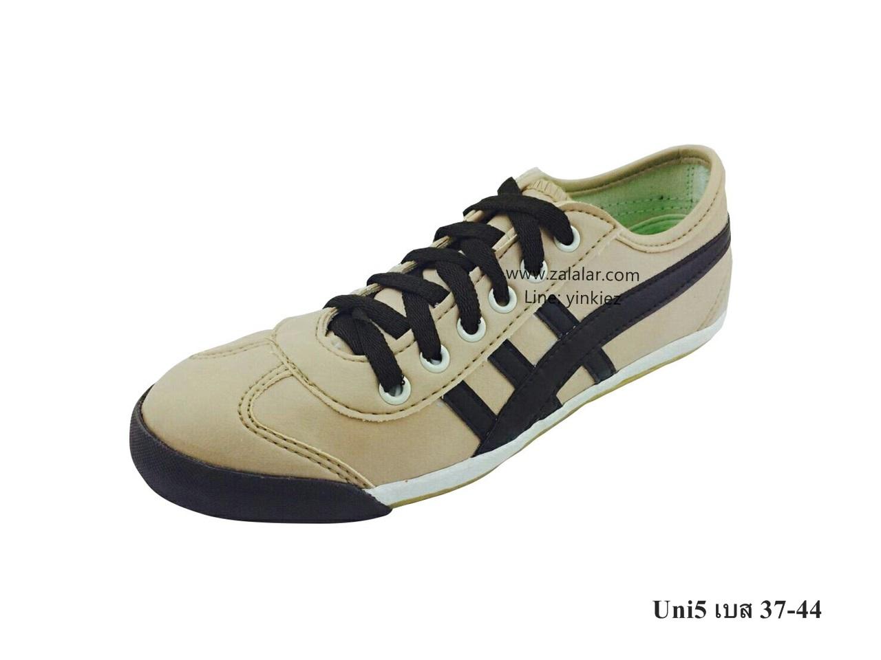 [พร้อมส่ง] รองเท้าผ้าใบแฟชั่น รุ่น Uni5 สีเบส แบบหนัง