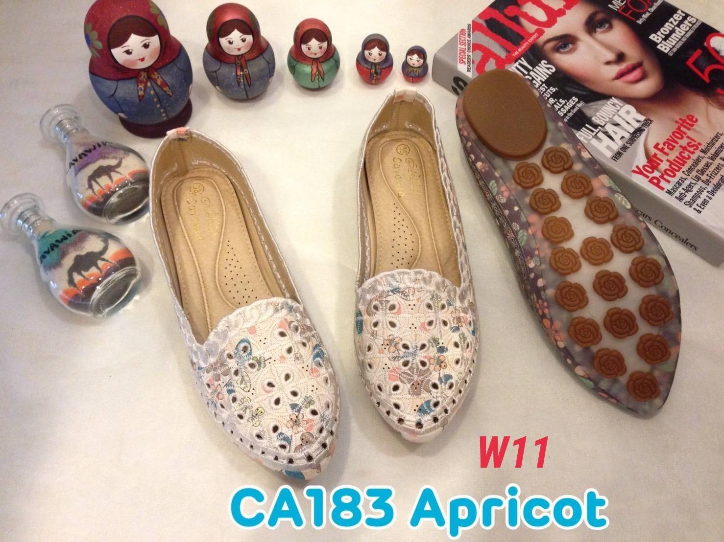 รองเท้าคัทชู ส้นแบน แต่งลายดอกไม้ ฉลุลายสวยหวานสไตล์วินเทจ หนังนิ่ม ทรงสวย ใส่สบาย แมทสวยได้ทุกชุด (CA183)