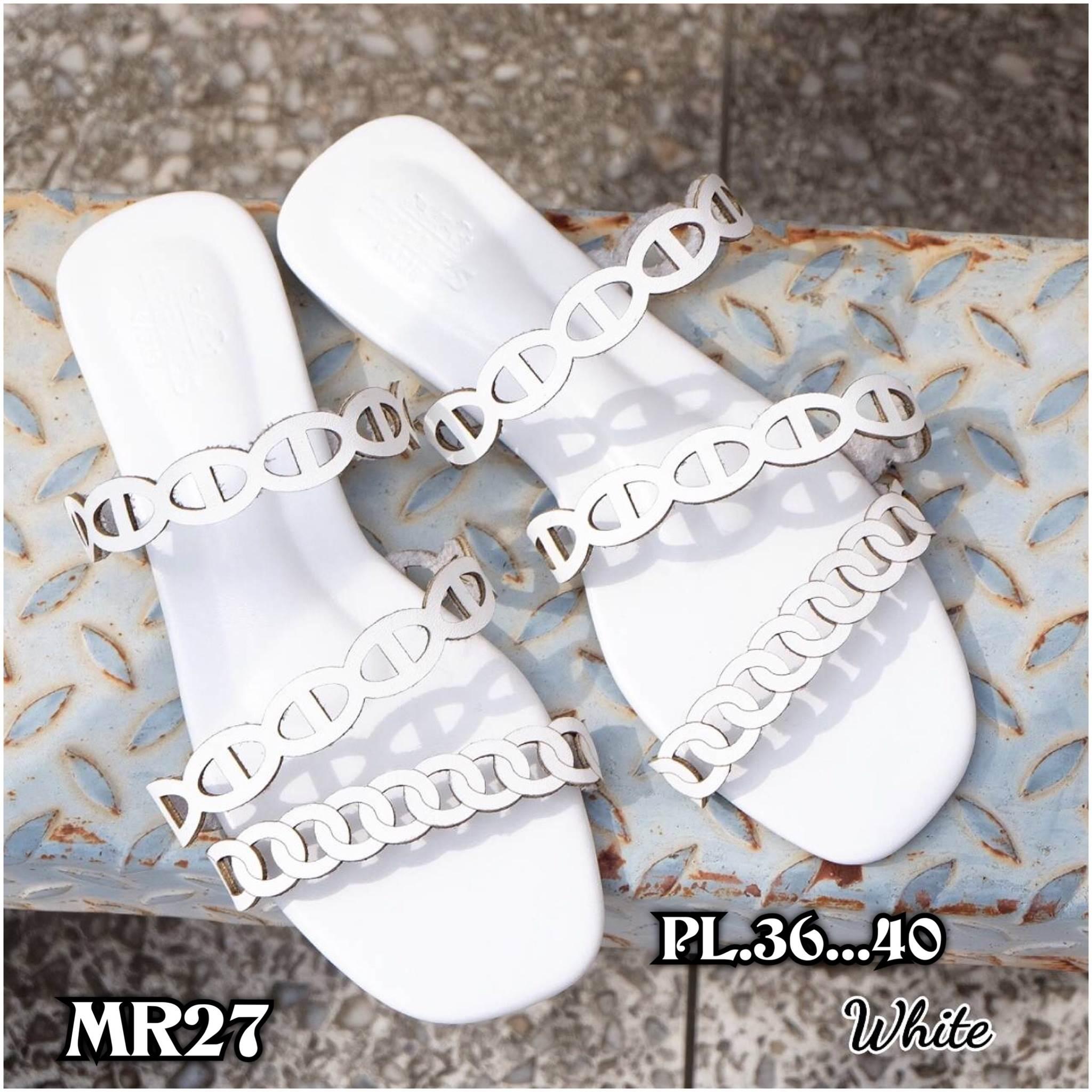 รองเท้าแตะแฟชั่น แบบสวม แต่งหนังเส้นลายฉลุสวยเก๋สไตล์แอร์เมส หนังนิ่ม ทรงสวย ใส่สบาย แมทสวยได้ทุกชุด (MR27)